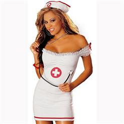 Sexy Off Shoulder Nurse Bodycon Dress Adult Role Play Costume N17438