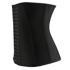 Black 9 Steels Boned Latex Sport Waist Cincher Underbust Corset N17511