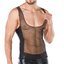 Men's Sexy Tank Top, Sexy Male Clothing, Men's See-trough Vest, See-through Mesh Male Vest, Black PU Mesh Undershirt, Hot Sexy Lingerie Vest for Men, #N17559