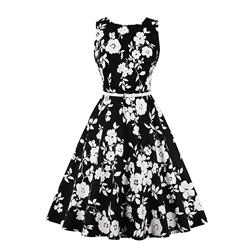 Vintage Sleeveless Summer Dress, Retro Round Neck Swing Day Dress, Women's Slim Fit Swing Party Dress, Elegant Black Summer Day Dress, #N17692
