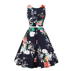 Vintage Sleeveless Round Neck Flower Printed Summer Midi Day Dress with Belt N17693
