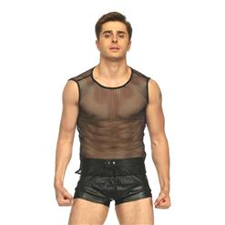 Men's Sexy Tank Top, Sexy Male Clothing, Men's See-trough Vest, See-through Mesh Male Vest, Black Mesh Undershirt, Hot Sexy Lingerie Vest for Men, #N17730