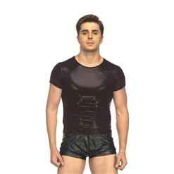 Sexy Male Clothing, Men's Halloween Clubwear Costume, Black Short Sleeve Clubwear, Black Tight Undershirt, Hot Sexy Lingerie for Men, #N17731