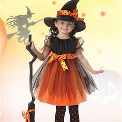 Kid's Lovely Witch Costume, Classical Witch Halloween Costume, Naughty Witch Dress Costume for Girls, Cute Witch Masquerade Costume, Witch Halloween Cosplay Kids Costume, #N17753