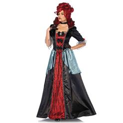 Women's Vampiress Adult Costume, Hot Sale Halloween Adult Costume, Fashion Scary Cosplay Costume, Sexy Red Vampiress Cosplay Costume, Women's Renaissance Costumes, #N17840