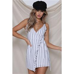 Sexy Mini Dress for Women, Women's White Mini Dress, Sexy V Neck A-line Dress, Hot Summer Casual Dress, Stripe Mini Dress for Women, #N17966
