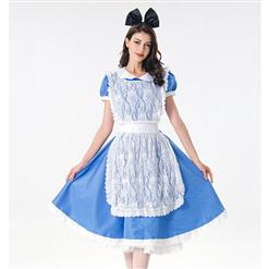 Traditional House Maid Costume, French Maide Costume, 3 Piece Maiden Cosplay Costume, Blue and White Maid Costume, Halloween Maid Cosplay Adult Costume, #N17995