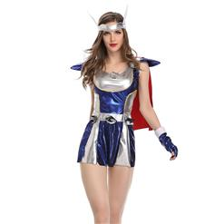 Sexy Fighter Costume, Sexy Warrior Costume, Super Warrior Cosplay Costume, Silver Fighter Costume, #N18044