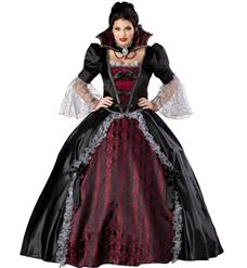 Vampiress Of Versailles Costume, Vampire length gown with petticoat, Vampire length gown, #N1811