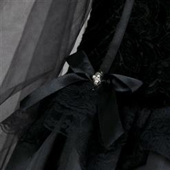 Gothic Black Ghost Bride Dress Adult Vampire Cloak and Dress Halloween Costume N18201