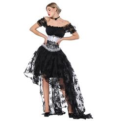 Sexy Off Shoulder Crop Top Sets, Women's Crop Top Skirt Set, Classical Gothic Black Skirt Sets, Sexy Black Ruffled Short Sleeve Crop Top, Retro High Low Organza Skirt Sets, #N18223