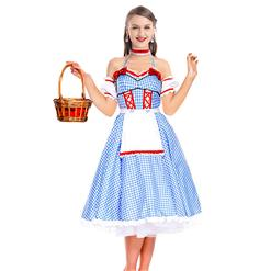 Cute Country Girl Costume, Haltter Maid Girl Costume, Maid Costume, Blue Grid Maid Costume, Garden Girl Costume,#N18244