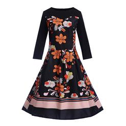 Fashion Flower Print Dresses for Women, Sexy Dresses for Women Cocktail Party, Vintage High Waist Dress, Flower Patterns Dress, Long Sleeves Swing Daily Dress, Vintage Floral Print Swing Dress, Long Sleeves Evening Dress, #N18287