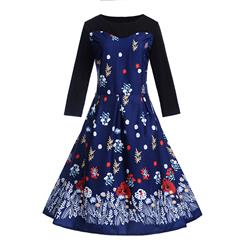 Fashion Flower Print Dresses for Women, Sexy Dresses for Women Cocktail Party, Vintage High Waist Dress, Flower Patterns Dress, Long Sleeves Swing Daily Dress, Vintage Floral Print Swing Dress, Long Sleeves Evening Dress, #N18288