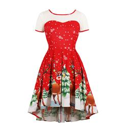 Fashion Round Neck Christmas Tree and Reindeer Print Short Sleeves High Waist High-low Dress N18377