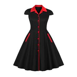 Retro Black and Red  Midi Dress, Vintage Dresses for Women, Sexy Dresses for Women Cocktail Party, Vintage High Waist Dress, Short Sleeves Swing Dress, High Waist Short Sleeves Swing Daily Dress, Chinoiserie Reformed Cheongsam, #N18492