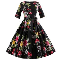 Vintage Various Flowers Print Dresses for Women, Sexy Dresses for Women Cocktail Party, Vintage High Waist Dress, Half Sleeves Swing Daily Dress, Retro Flower Pattern Swing Dress, Elegant Black Party Dress, #N18589