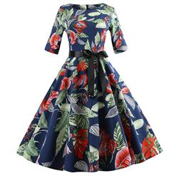 Vintage Leaves Print Dresses for Women, Sexy Dresses for Women Cocktail Party, Vintage High Waist Dress, Half Sleeves Swing Daily Dress, Retro Big Leaves Pattern Swing Dress, Elegant Dark Blue Party Dress, #N18596