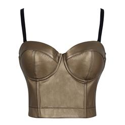 Gold Strap Bustier Bra, Crop Top Vegan Leather Bustier Bra, Faux Leather Bustier Bra, Sexy Gold Bustier, Spaghetti Straps Crop Top, Faux Suede Bustier, #N18605