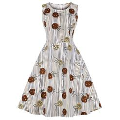 Cute Swing Dress, Retro Dresses for Women 1960, Vintage Dresses 1950's, Plus Size Summer Dress, Vintage Dress for Women, Grain and Roses Print Dresses for Women, Vintage Spring Dresses for Women, #N18652