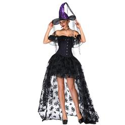 Victorian Gothic Purple Satin Off Shoulder Floral Lace Overbust Corset with Organza High Low Skirt Set N18719