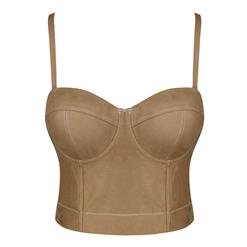 Sexy Brown Spaghetti Straps Faux Suede Bustier Corset Crop Top N18814