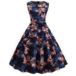 Deep Blue Women's Retro Round Neckline Sleeveless Floral Totem Printed Swing Summer Day Dress N18822