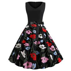 Cute Flower Print A-line Swing Dress, Retro Flower Print Dresses for Women 1960, Vintage Dresses 1950's, Plus Size Summer Dress, Vintage Flower High Waist Dress for Women, Simple V Neck Swing Dresses for Women, Vintage Spring Dresses for Women, #N18824