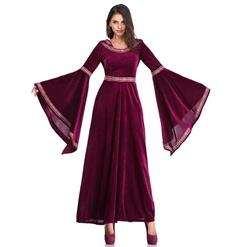 Noble Medieval Vampire Blood Red Velvet Dress Adult Halloween Masquerade Costume N18956