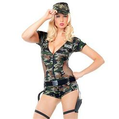 Adlut Army Costume, Women's Camouflage Land Soldier Military Costume, Hot Sale Halloween Costume, Cheap Cop Costume, Hot Sale Cop Bodysuit Lingerie Costume, Halloween Cosplay Police Outfit, #N19925