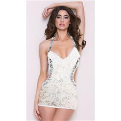 Sexy Bodycon Mini Dress, Halter Backless Bodycon Dress, Sequin Halter Dress for Women, Clubwear Sequin Dress, White Cut Out Mini Dress, #N4057