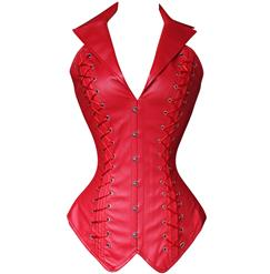 2pcs Vest Leather Corset, Vest Leather Corset Red, Leather Corset Red, #N4391