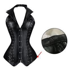 2pcs Vest Leather Corset, Vest Leather Corset Black, Leather Corset Black, Sexy Black Leather Corset, Steampunk Corset, Cheap Leather Corset, #N4392