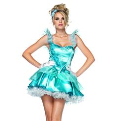Once Upon A Time Costume, Satin Cinderella Costume, Adult Woman Cinderella Costume, #N4734
