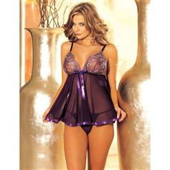 Magic Babydoll, Purple Babydoll, Mesh and Lace Babydoll Set, #N4910
