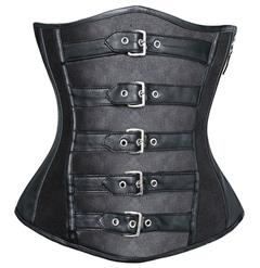 Leather Buckle Corset, Leather Underbust Corset, Leather Buckle Underbust Corset, #N5117