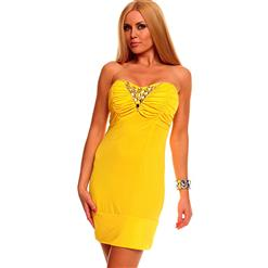 Yellow Dress, Dress Sexy Yellow, Sexy Yellow Mini Dress, #N5145