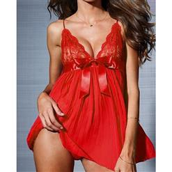 Pleated Chiffon Babydoll, Red Pleated Babydoll, Chiffon & Lace Pleated babydoll, #N5321