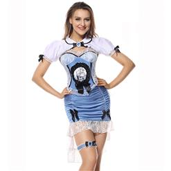 Alice In Wonderful Land Costume, Wonderful Land Alice Costume, Alice Costume, Blue-white Alice Narrow Dress,Alice In Wonderland Costume Set, #N5846