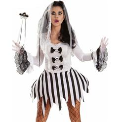 Sexy Corpse Bride Costume, Adult Corpse Bride, Ghost Bride Costume, Ghost Girl Costume, Black and White Halloween Costume, #N5879
