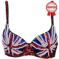 Sexy Beads Trims Uk Flag Push Up Bra Top, Dancewear Gogo Dance, Beads Trims Uk Flag Dancewear Gogo, #N5910