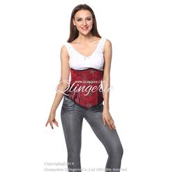 Red Brocade Longlined Underbust Corset N5961