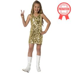 Disco costume for girl, Kids Costumes, sewuined Gold dress, #N5972
