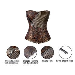 Brocade Steampunk Corset With Zip N6108