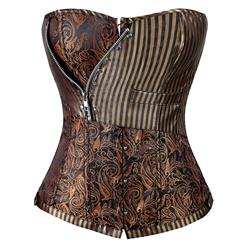 Brocade Steampunk Overbust Corset, Brown Steampunk Corset, Steampunk Corset With Zip, #N6108