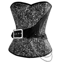 Black Silver Brocade Steampunk Corset, Steampunk Steel Boned Corset, Brocade Steampunk Steel Boned Corset, #N6223