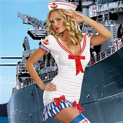 Sailor Pinup Costume, White Sailor Costume, Striped Sailor Costume, #N6225