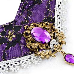 Deluxe Evil Queen Black-purple Overbust Stand Collar Theatrical Fancy Ball Costume N6382