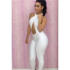Halter Neck Backless Catsuit, Cross Backless Bodycon Jumpsuit, Hollow Out Bodycon Jumpsuit, #N6620