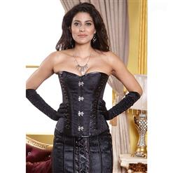 Brocade & Faux Leather corset, Black Ring side Corset, Jacquard Ring side Corset, #N7709